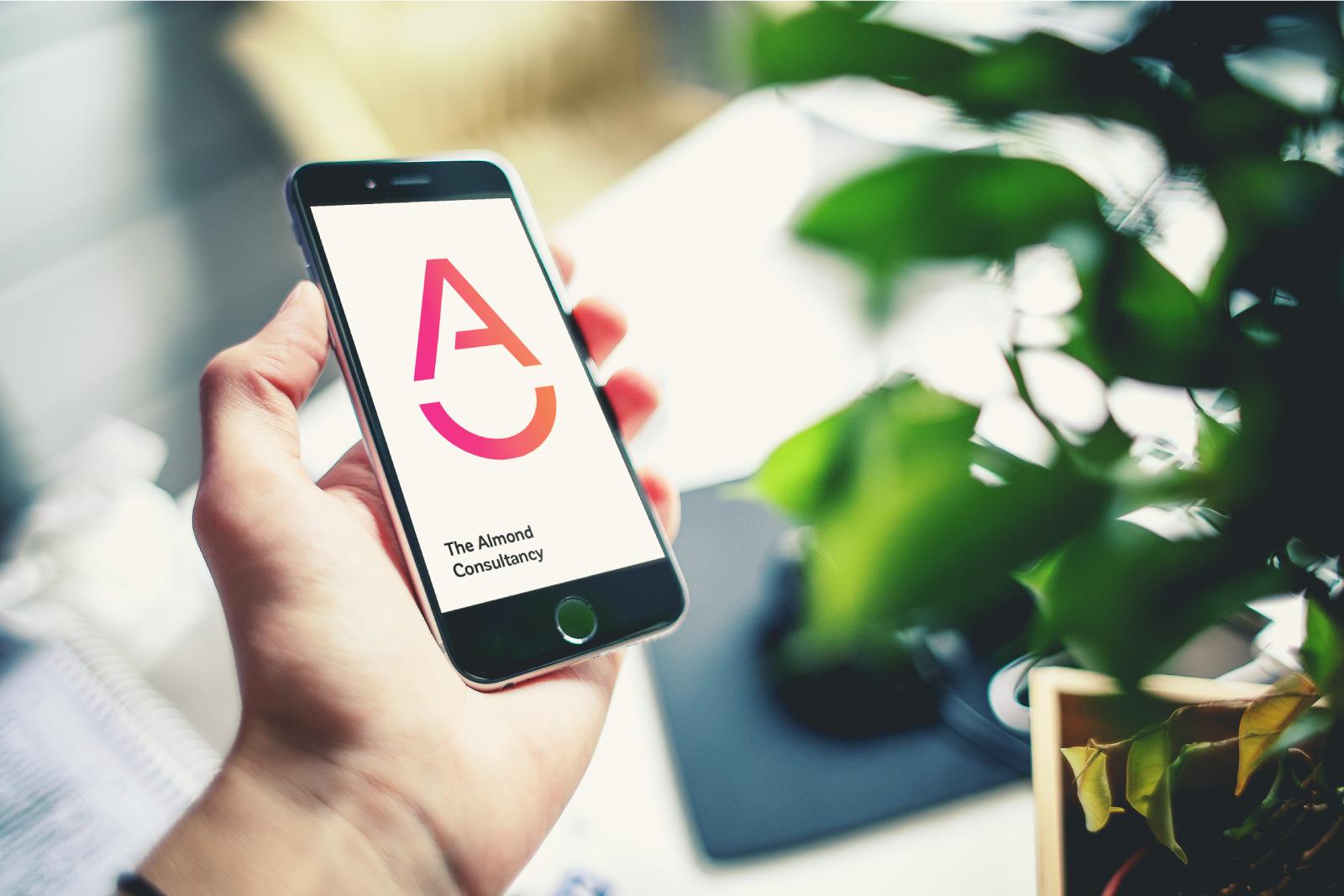 almond logo on smartphone
