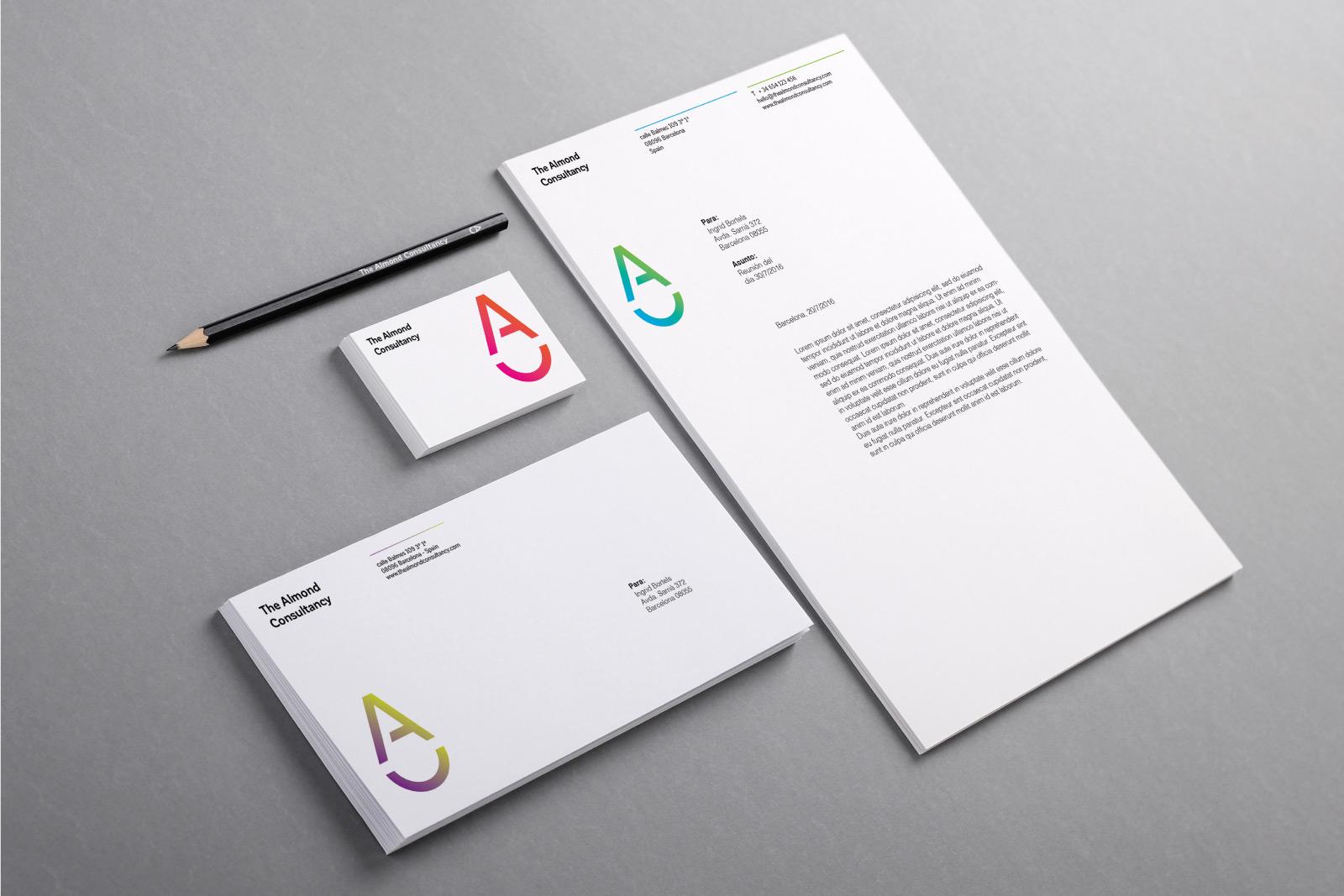 almond logo stationery