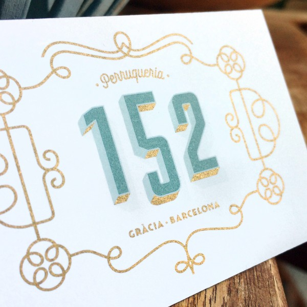 "Logo and visual identity for ""152"" hair salon"